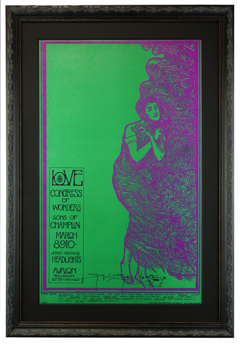 FD-109  Art Nouveau poster by Stanley Mouse called Lovelady, advertising 1968 concert by Love, Congress of Wonders and Sons of Champlin at Avalon Ballroom