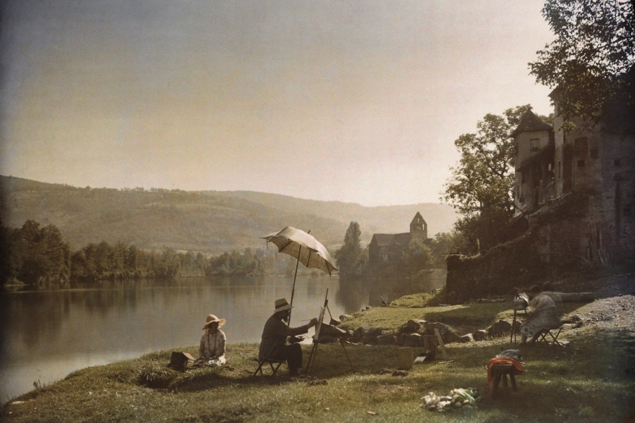 Jules Gervais-Courtellemont- Painting on the Banks of the Dordogne