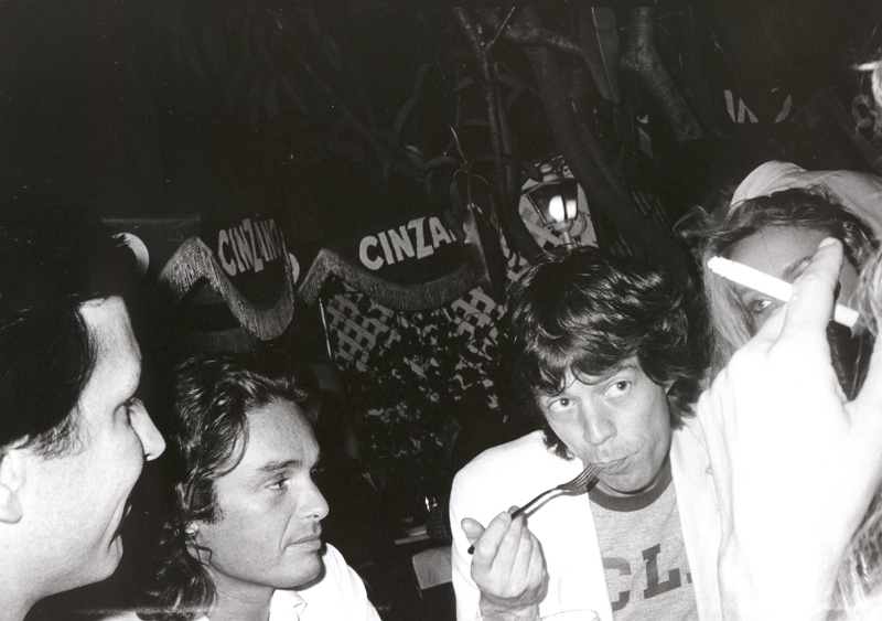 Bob Colacello - Fred Hughes, Patrice Calmettes, Mick Jagger, and Jerry Hall at Cafe Mustache