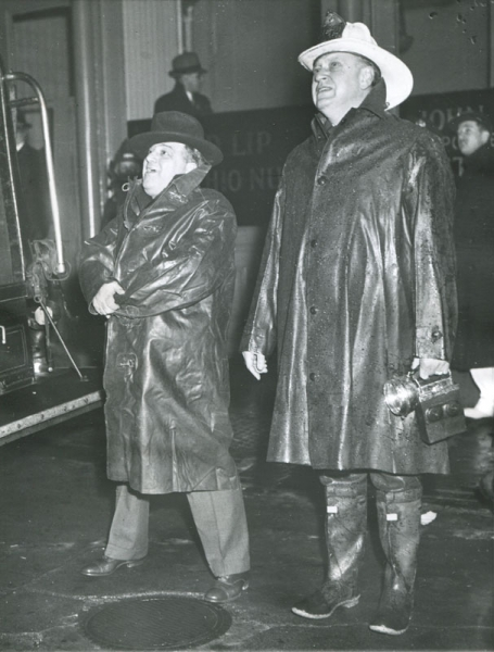 Weegee- Mayor LaGuardia and Fire Chief McElligott Watch an Early Morning Blaz
