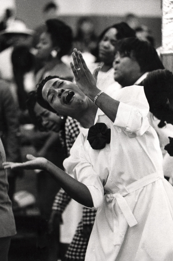 Ozier Muhammad, An usher at the United House of Prayer surrenders to the sound of the gospel, 1994