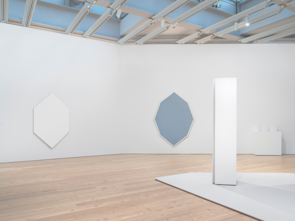 Installation photo of the 2018 exhibition Mary Corse: A Survey in Light at the Whitney Museum of American Art, New York, view 3