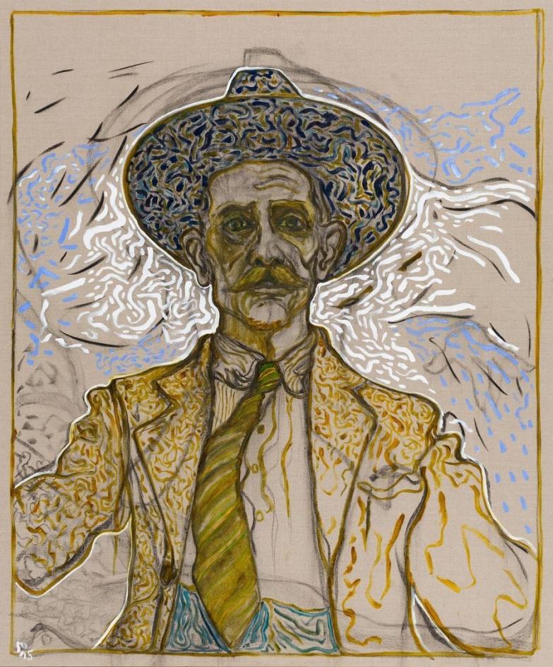BILLY CHILDISH self portrait with tie, 2015