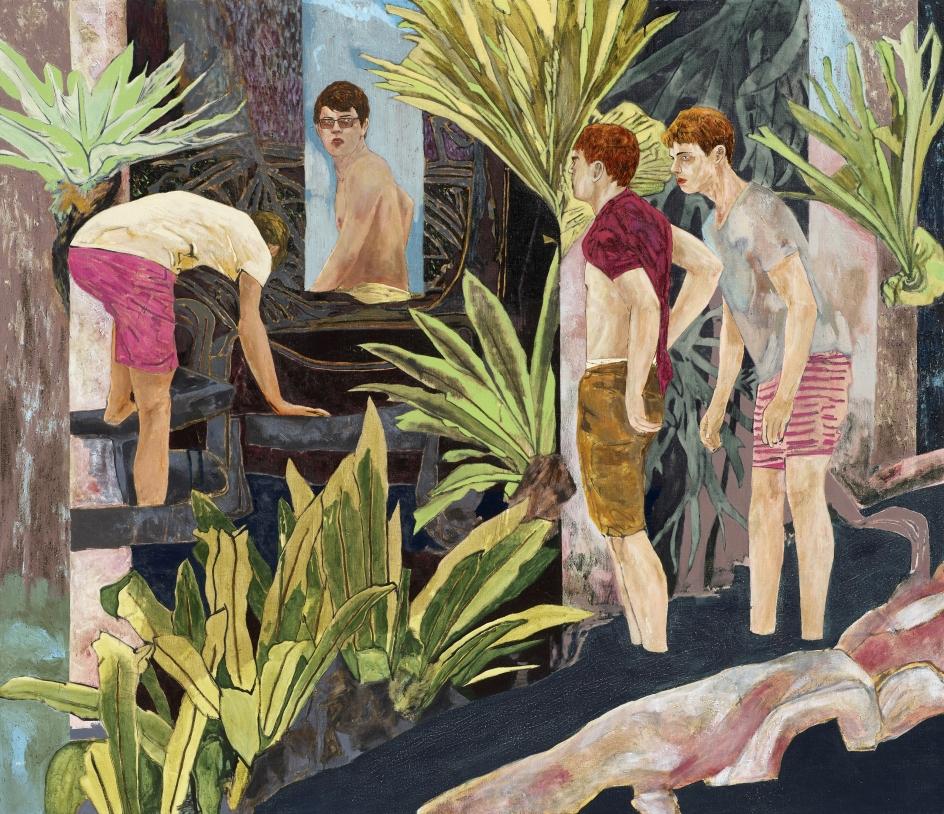 HERNAN BAS, four bathers by a river, 2017