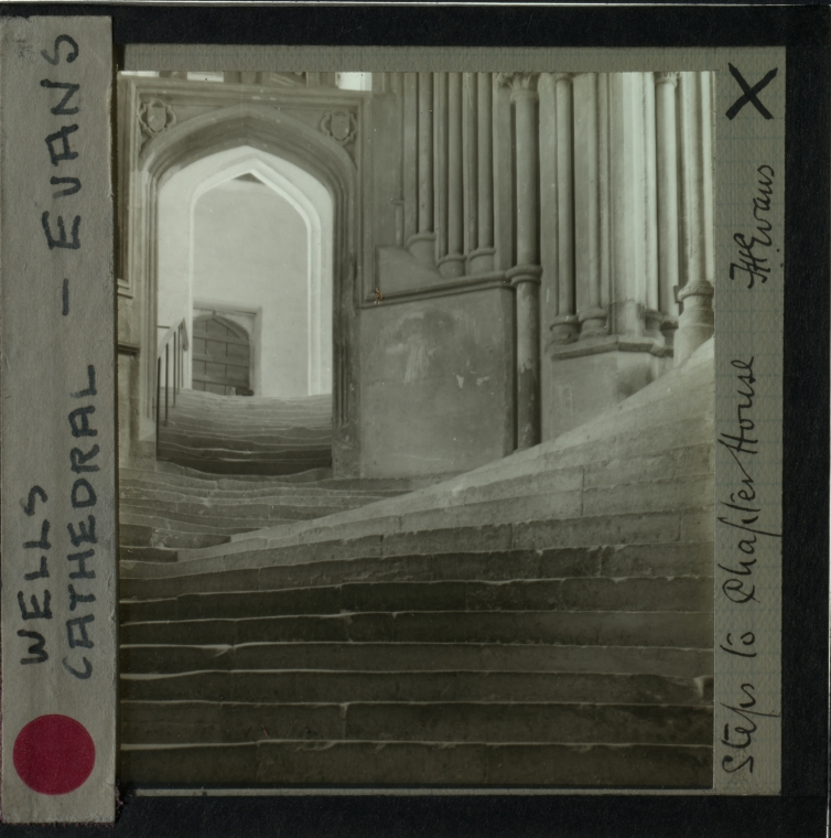"""Frederick H. EVANS (English, 1853-1943) """"Steps to the Chapter House, Wells Cathedral"""", from a 1903 negative Lantern slide 7.0 x 6.0 cm on 8.3 x 8.2 cm glass slide Signed """"F.H. Evans"""" and titled in ink on the paper mask"""