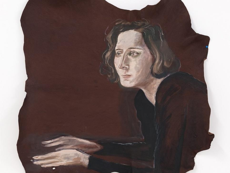 Katz portrait painting on cloth