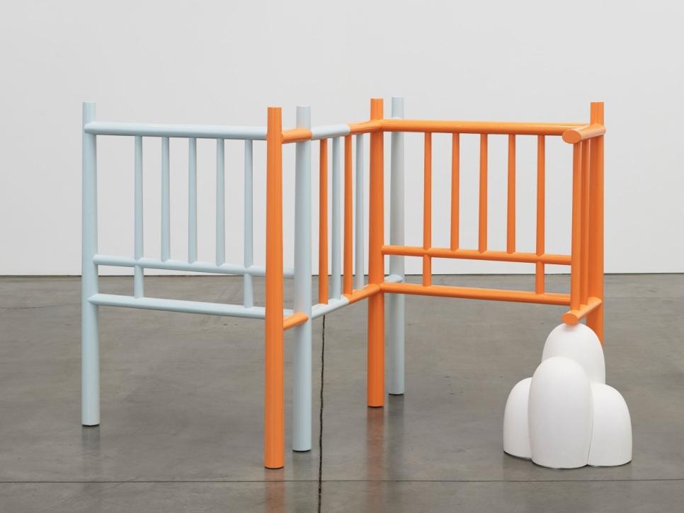 blue and orange sculpture