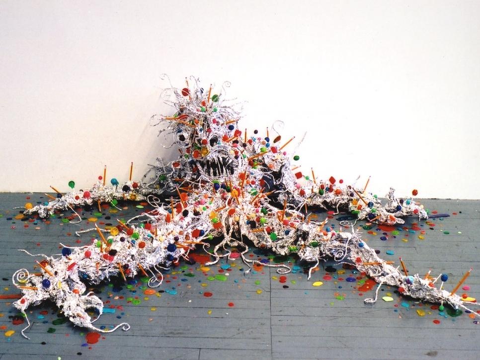 tin foil monster sculpture