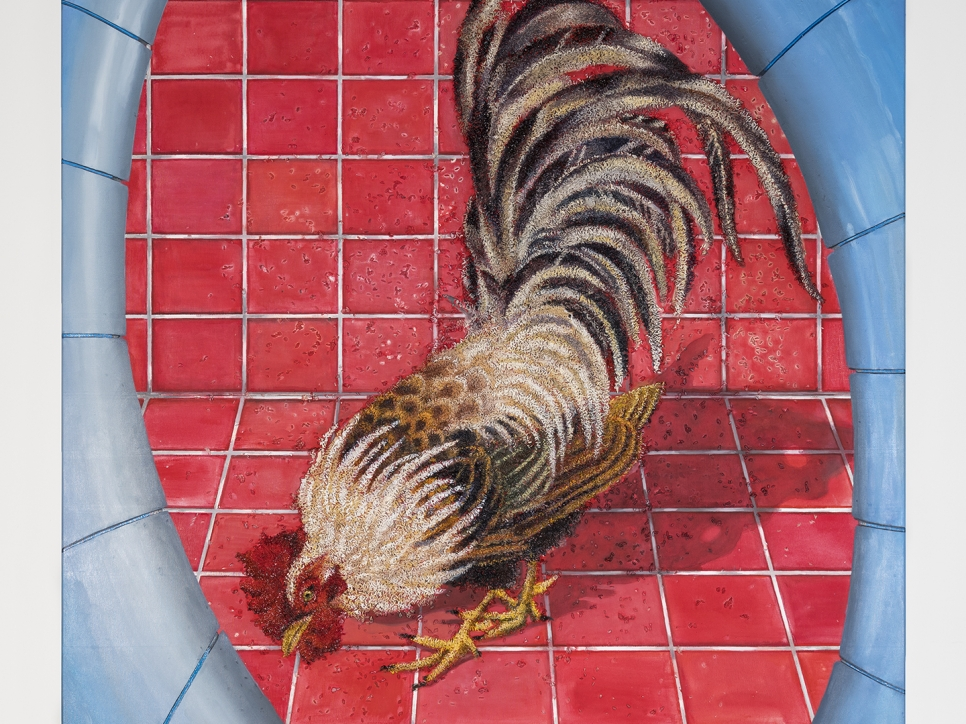 Katz painting of a rooster on red tile