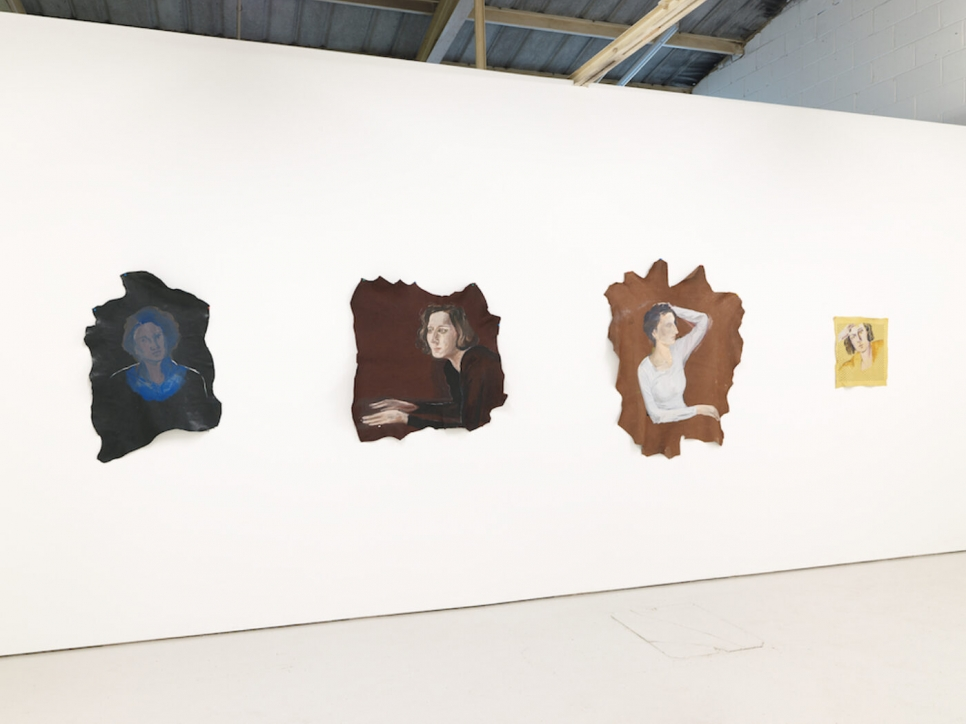 Installation of 4 portrait paintings on cloth