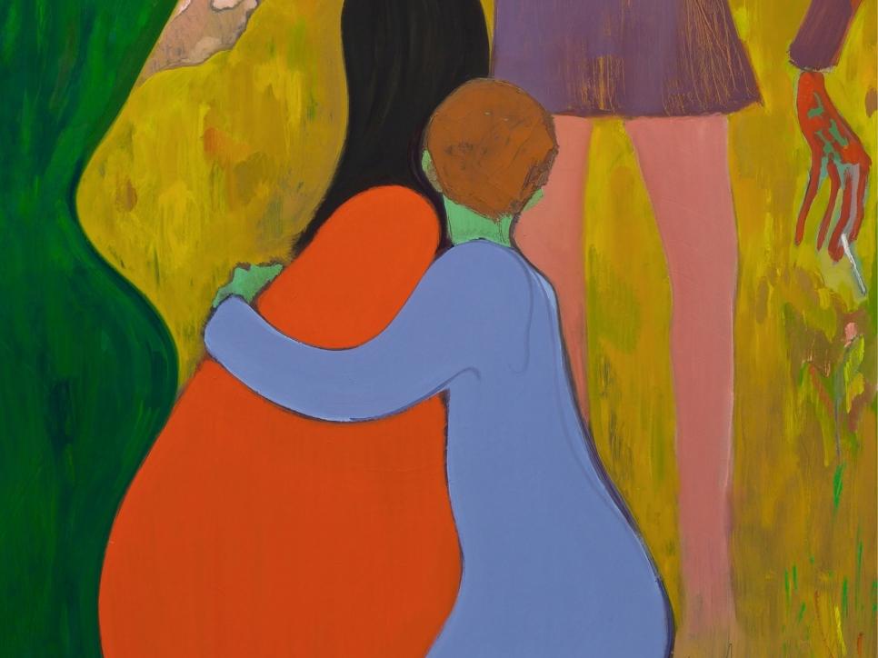 Kantarovsky painting 2 figures kneeling