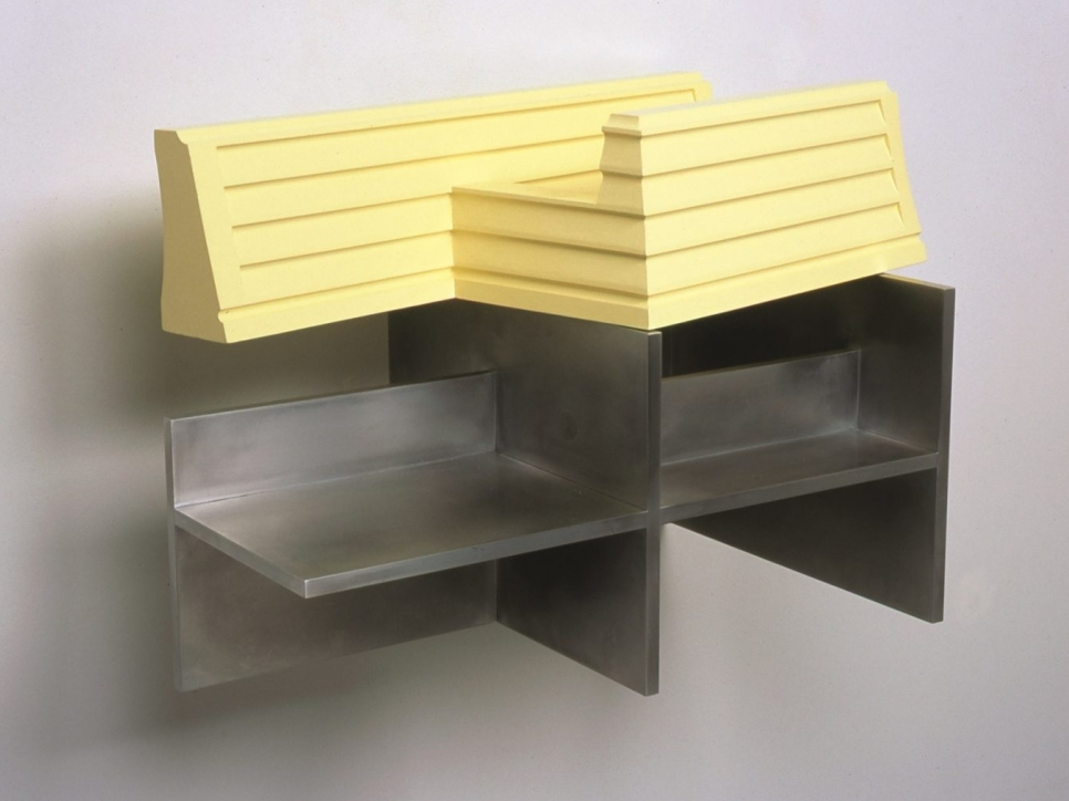 Yellow and metal abstract sculpture