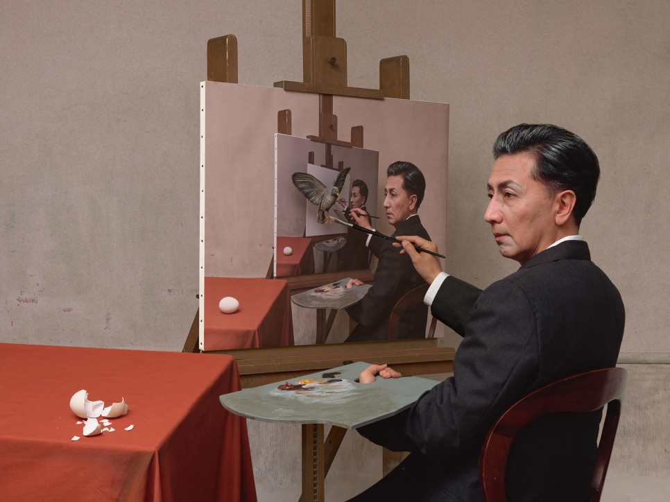 Morimura sitting at easel