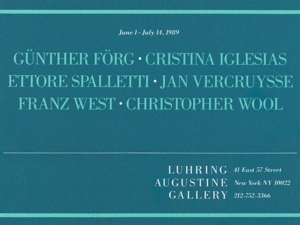Günther Förg, Cristina Iglesias, Ettore Spalletti, Jan Vercruysse, Franz West, Christopher Wool