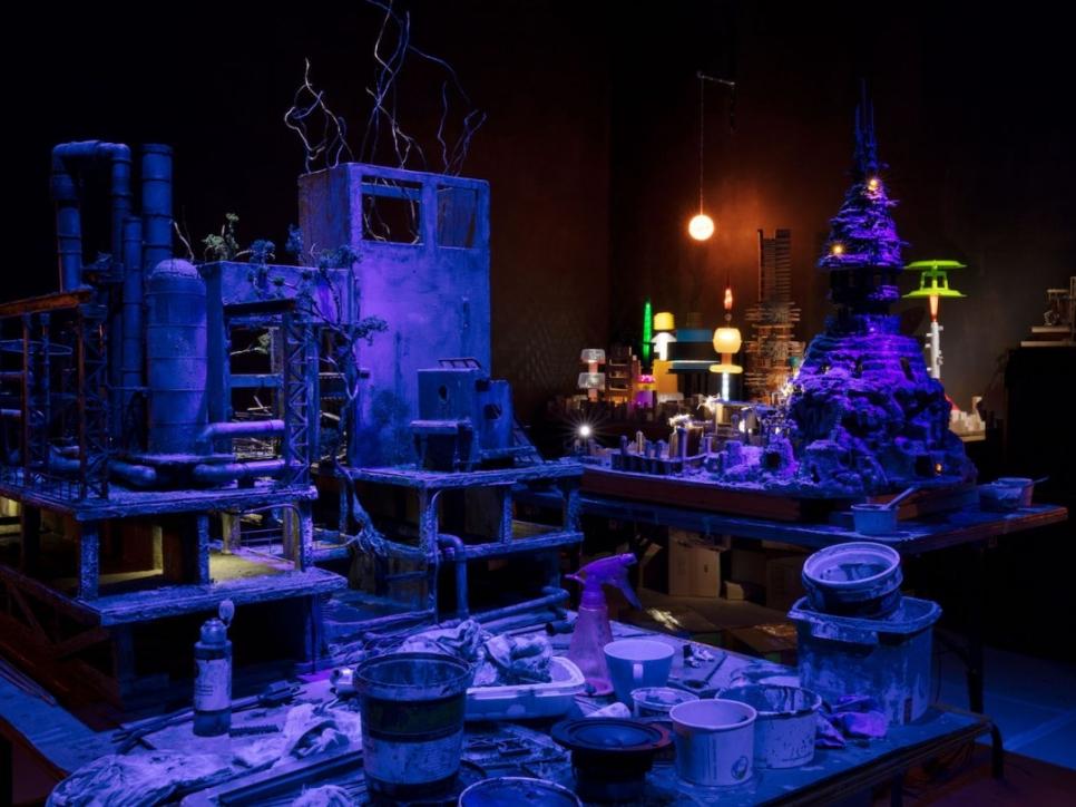 Dark room with miniature building models