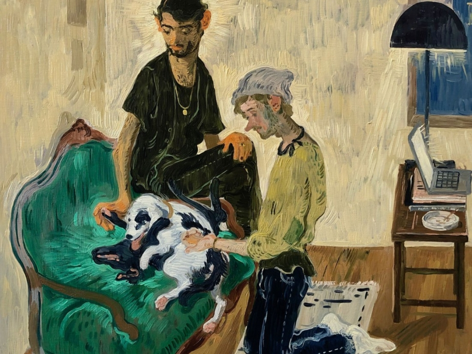 Toor painting of 2 men with dogs