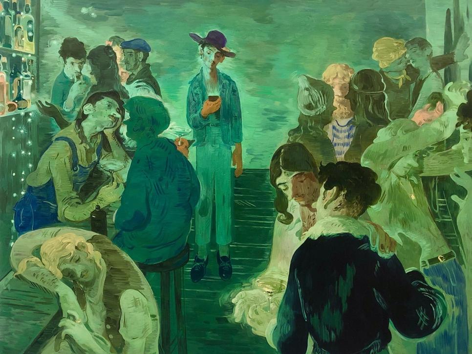 Toor green painting of bar scene