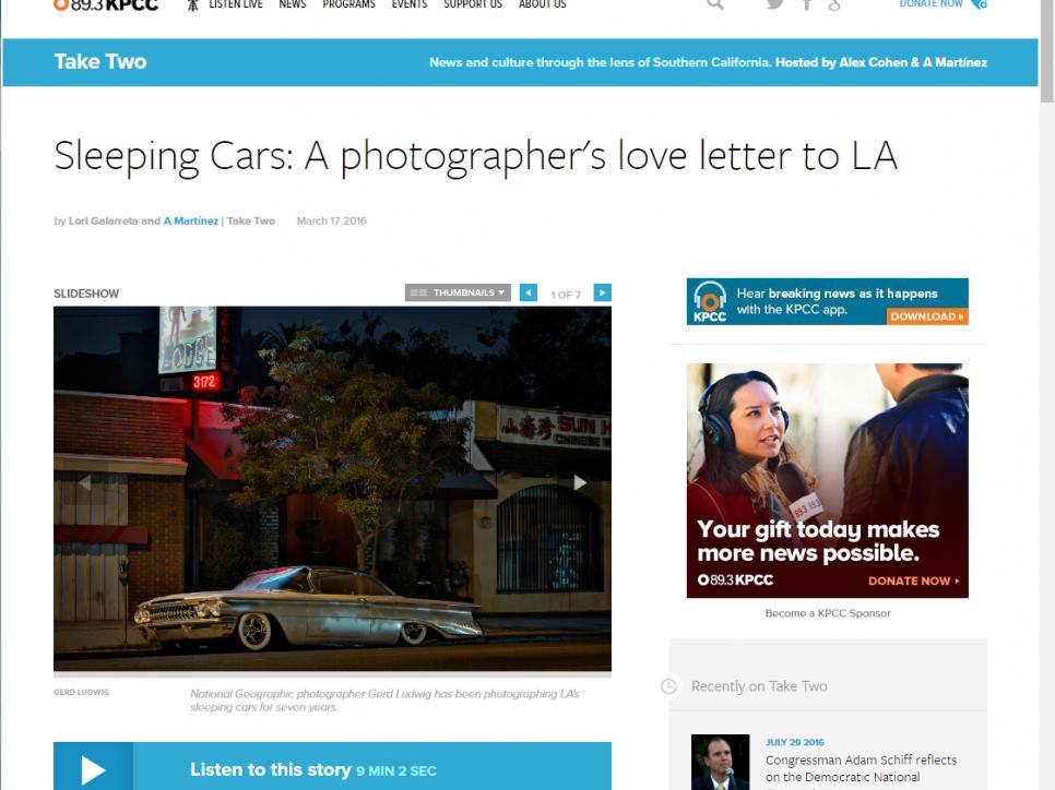 Gerd Ludwig: Sleeping Cars: A photographer's love letter to LA - KPCC