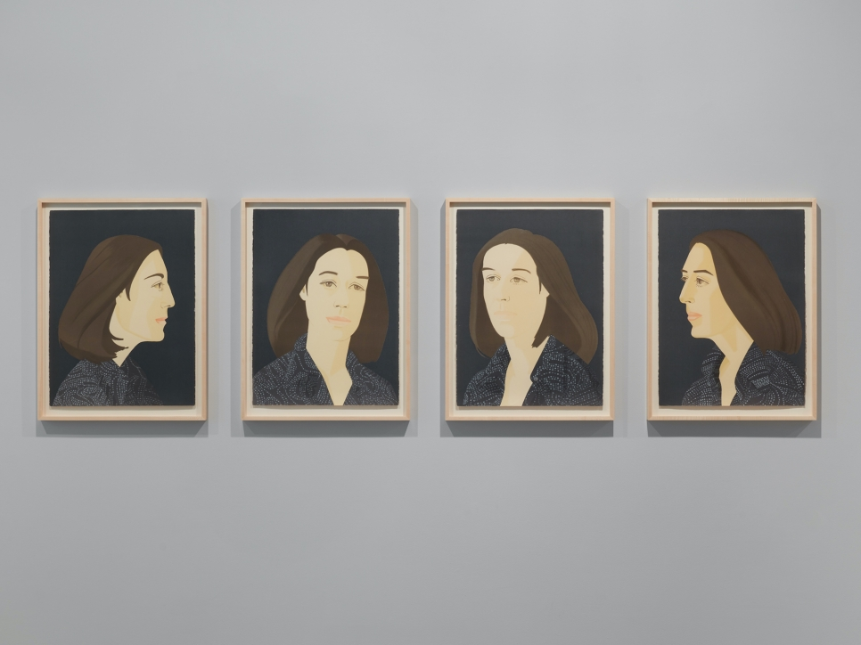 Color aquatint by Alex Katz featuring the portrait of a woman with black hair wearing read against a pink background