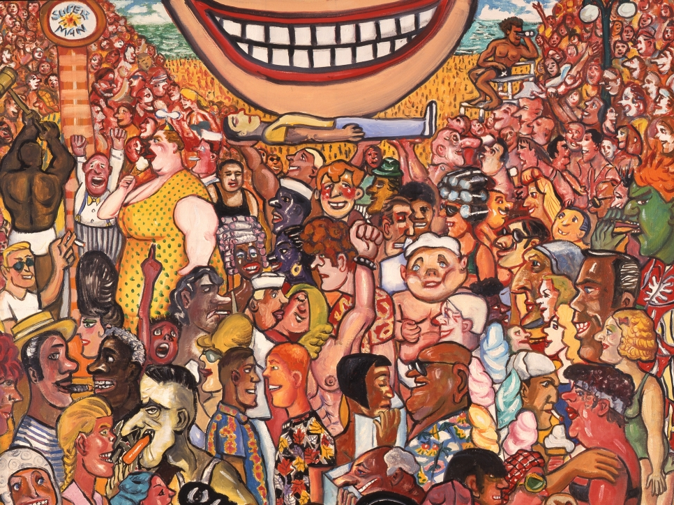 Detail of work by Red Grooms featuring a colorful oil painting on canvas of a crowd of figures smiling and socializing. Featuring a massive smiling mouth at the top center of the piece with a person laying horizontal below it.