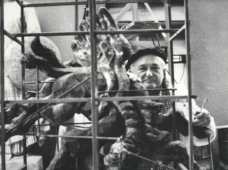 Portrait of Jacques Lipchitz working in his Studio. Photo: Francis K. Lloyd.