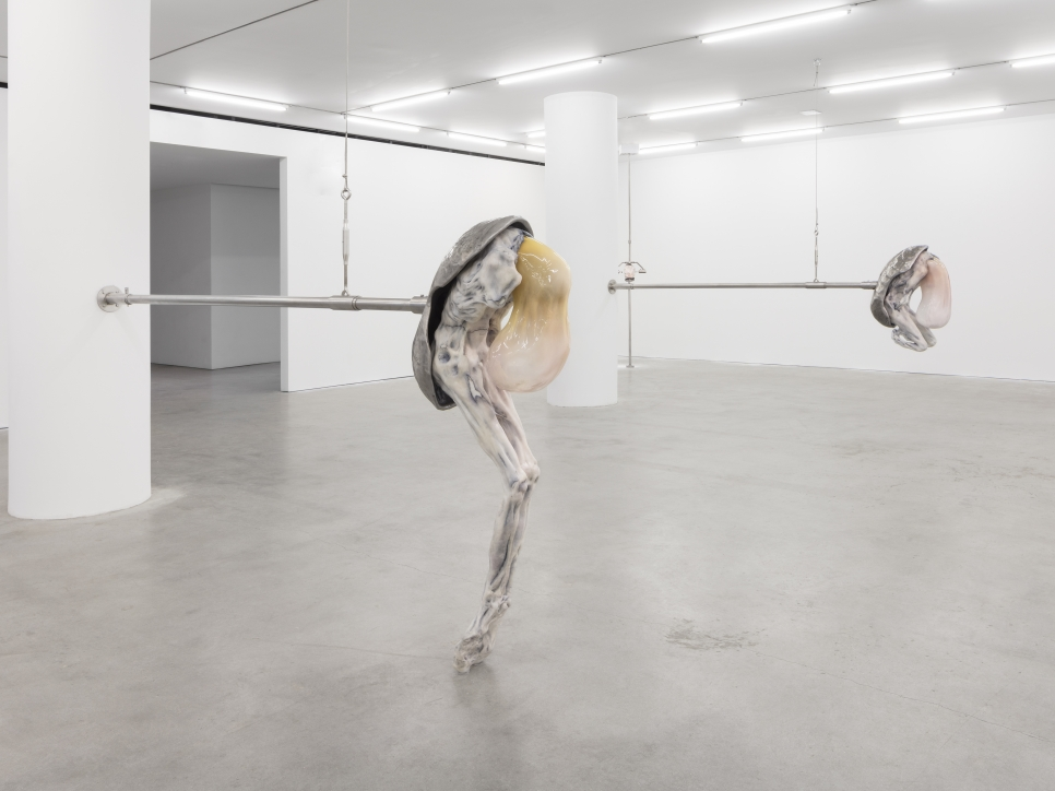Installation view featuring Ivana Bašić's sculptures depicting elongated figurative creatures