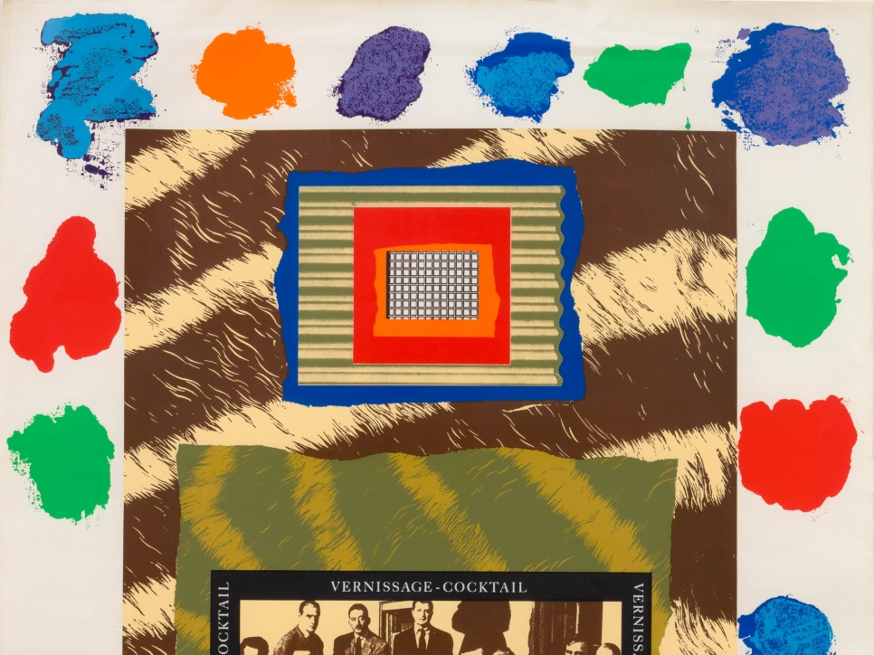 """silkscreen by R.B. Kitaj with a frame of multiple color splotches and featuring a photograph of a group of men with caption: """"Irascible group of advanced artists led fight against show"""" and """"vernissage-cocktail"""""""