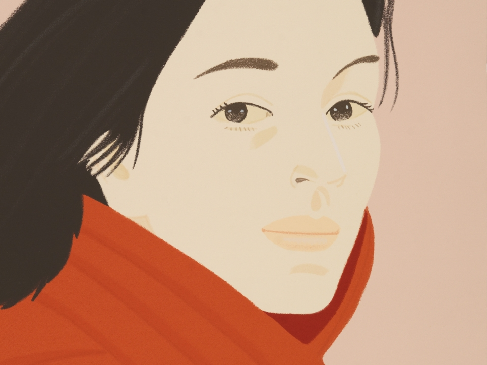 detail view of an Alex Katz silkscreen depicting a brown haired woman at 3/4 view wearing a red coat against a pink background