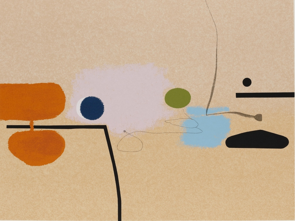 Screenprint by Victor Pasmore depicting a beige background and an abstract composition of black, orange, blue, and green markings