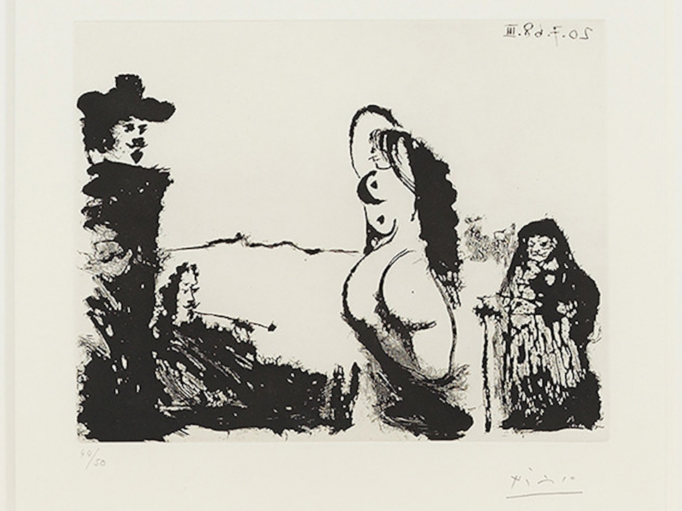 Pablo Picasso work on paper depicting four abstracted figures in an open space