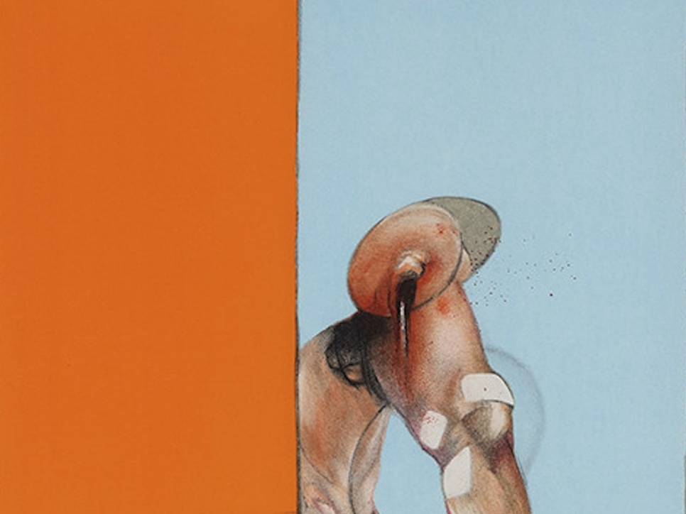detail view of a Francis Bacon lithograph depicting a half orange and half blue background featuring a humanoid body part