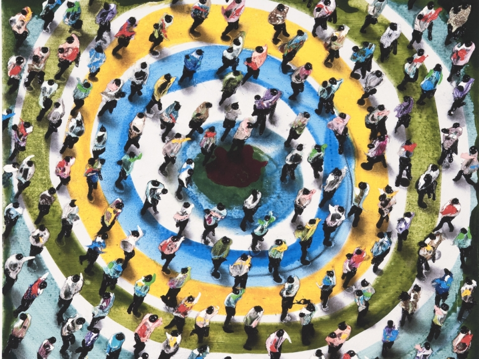Juan Genovés print depicting a birds-eye view of a crowd of figures standing over blue, yellow, and green rings