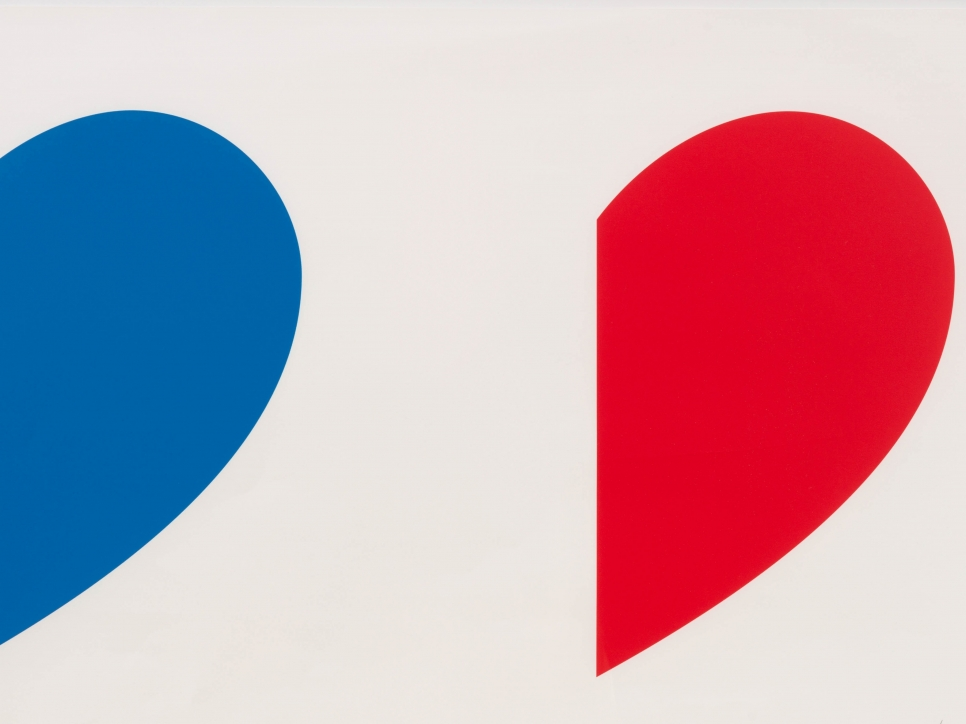 detail view of an Ellsworth Kelly lithograph featuring blue and red curved shapes against a white background
