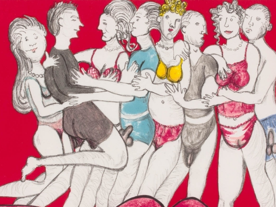 Louise Bourgeois lithograph depicting eight figures in undergarments on a red bed
