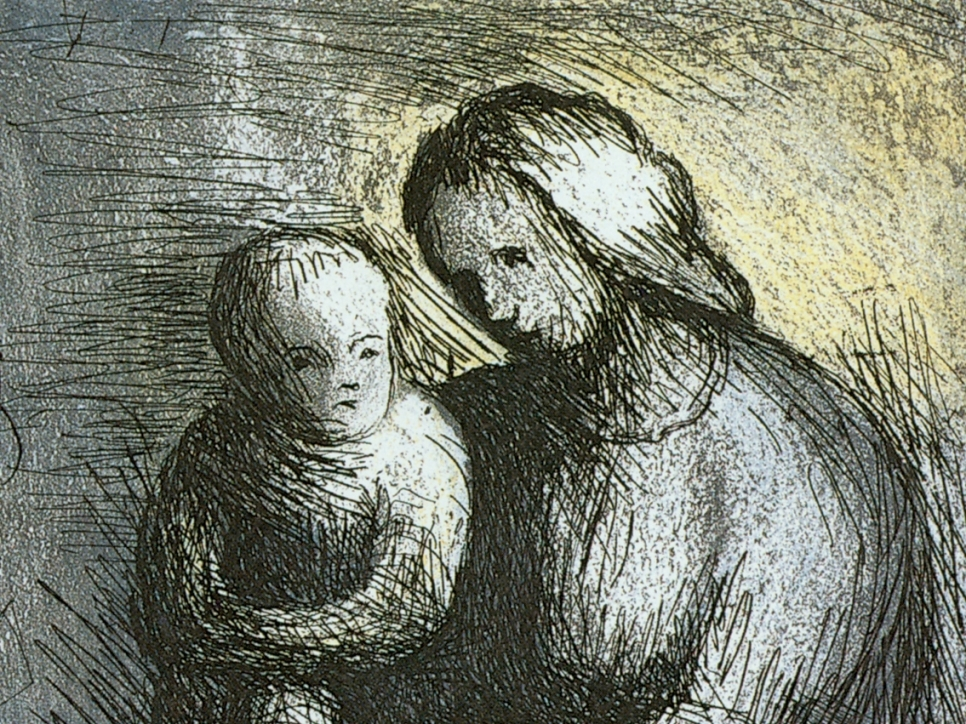 Aquatint by Henry Moore depicting a sketch of a mother and child against a yellow and grey background