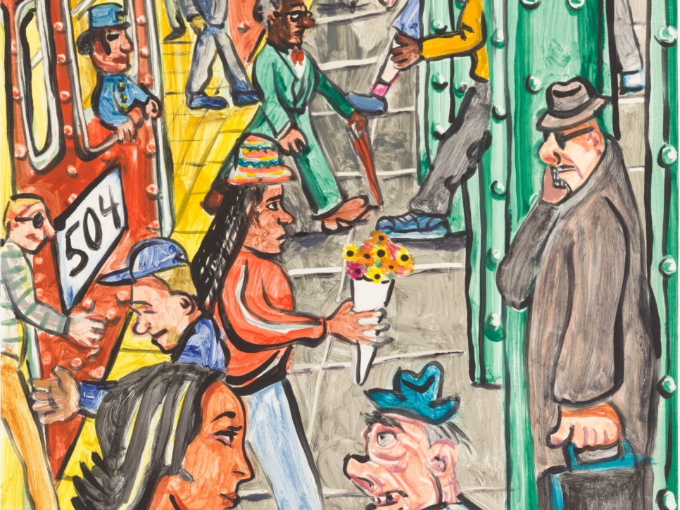 detail view of a colorful Red Grooms monoprint featuring figures in motion at a subway station