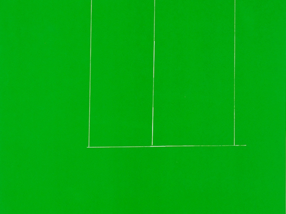 detail view of a green Robert Motherwell screen print depicting a green background and a faint white rectangular sequence
