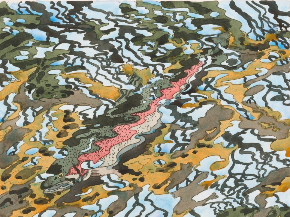 Hand-colored etching by Neil Welliver of curved curved yellow, green, and brown lines over blue and featuring a salmon fish