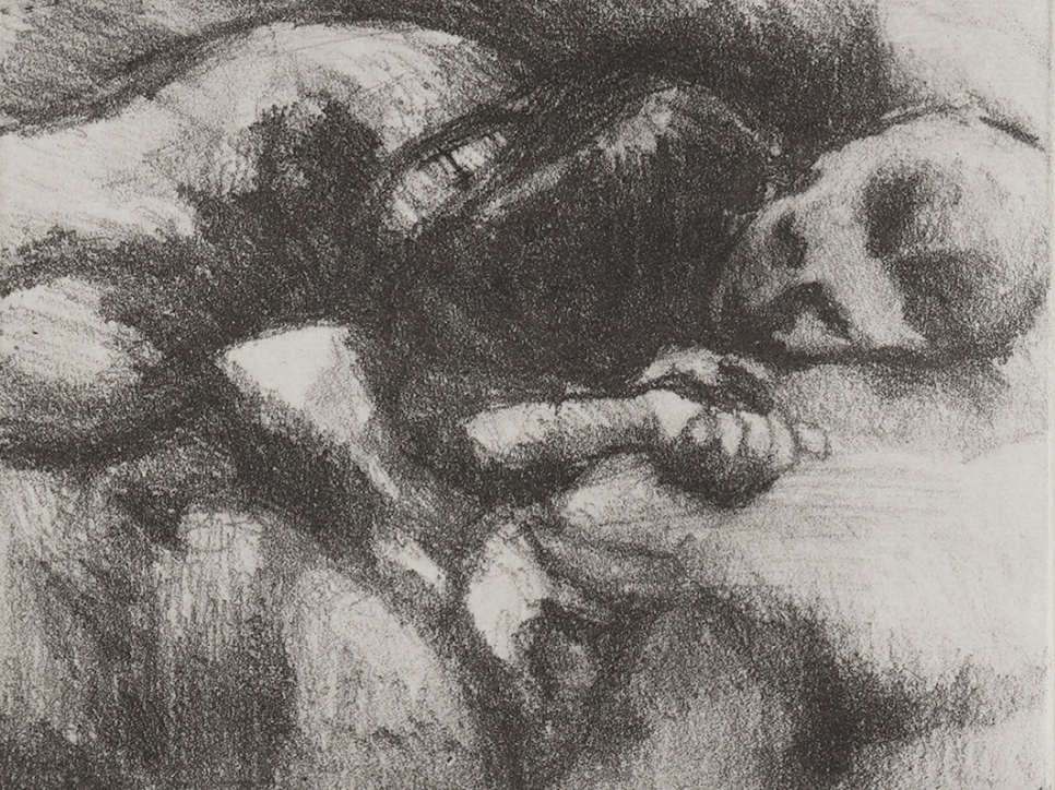 Celia Paul sketched etching of a figure resting on its side