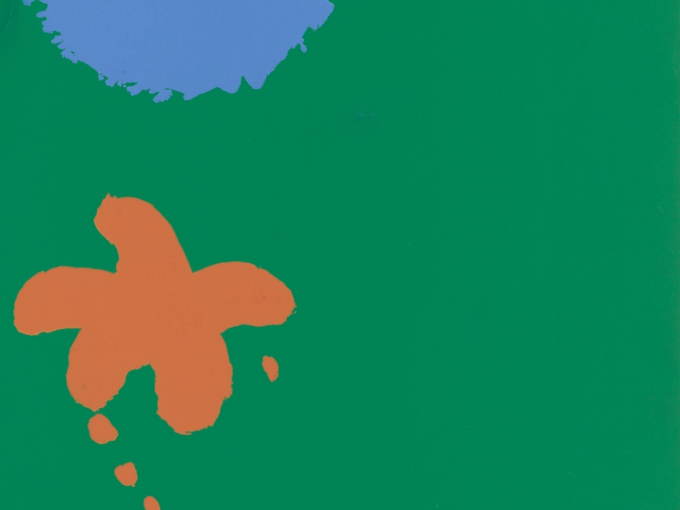 detail view of an Adolph Gottlieb screen print featuring a blue and an orange shape against a green background