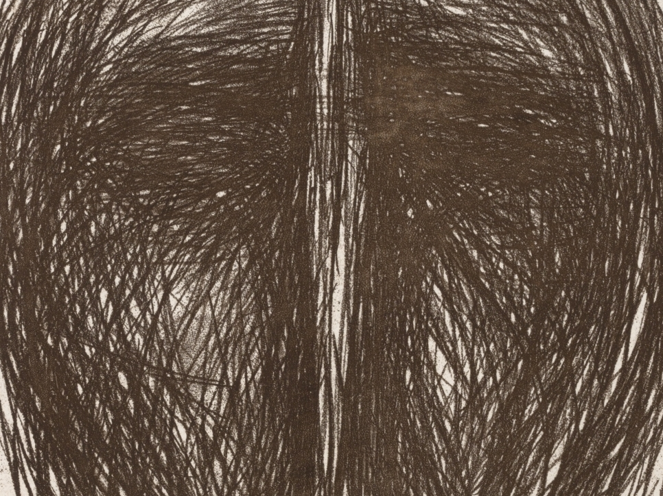 detail view of a Magdalena Abakanowicz etching featuring curved sketched lines forming a circular shape and a crease