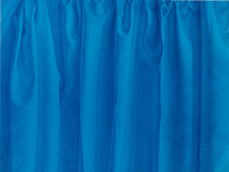 detail view of a Claudio Bravo lithograph featuring a blue curtain