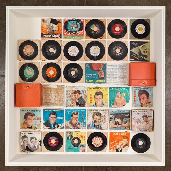 display of vinyl records