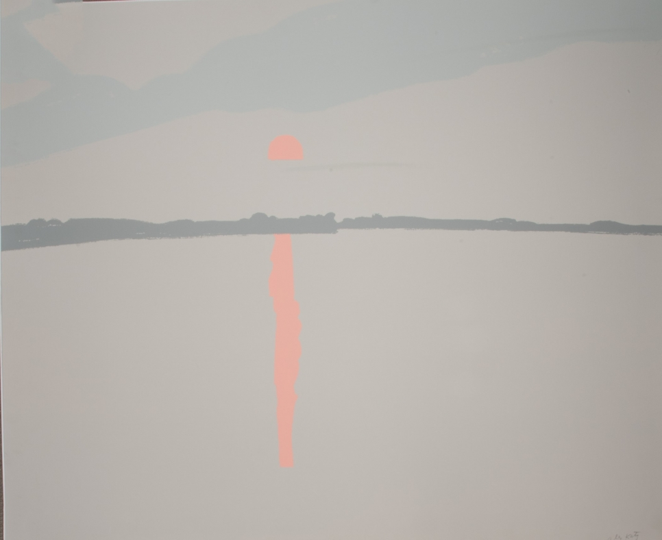 Alex Katz screenprint in five colors featuring a grey landscape with salmon sunset over water and its reflection