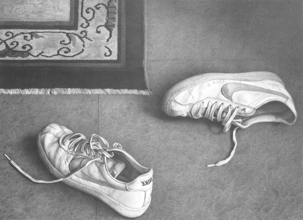Lithograph of used sneakers next to a corner of a rug by Claudio Bravo