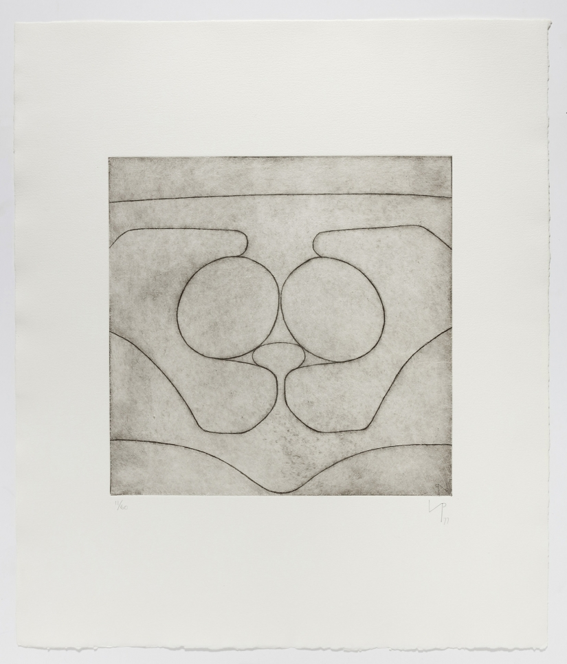 Abstract etching of linear shapes representing the Cave of Calypso by Victor Pasmore