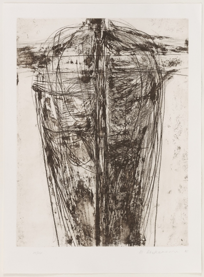 Magdalena Abakanowicz etching featuring an abstracted torso shape on paper