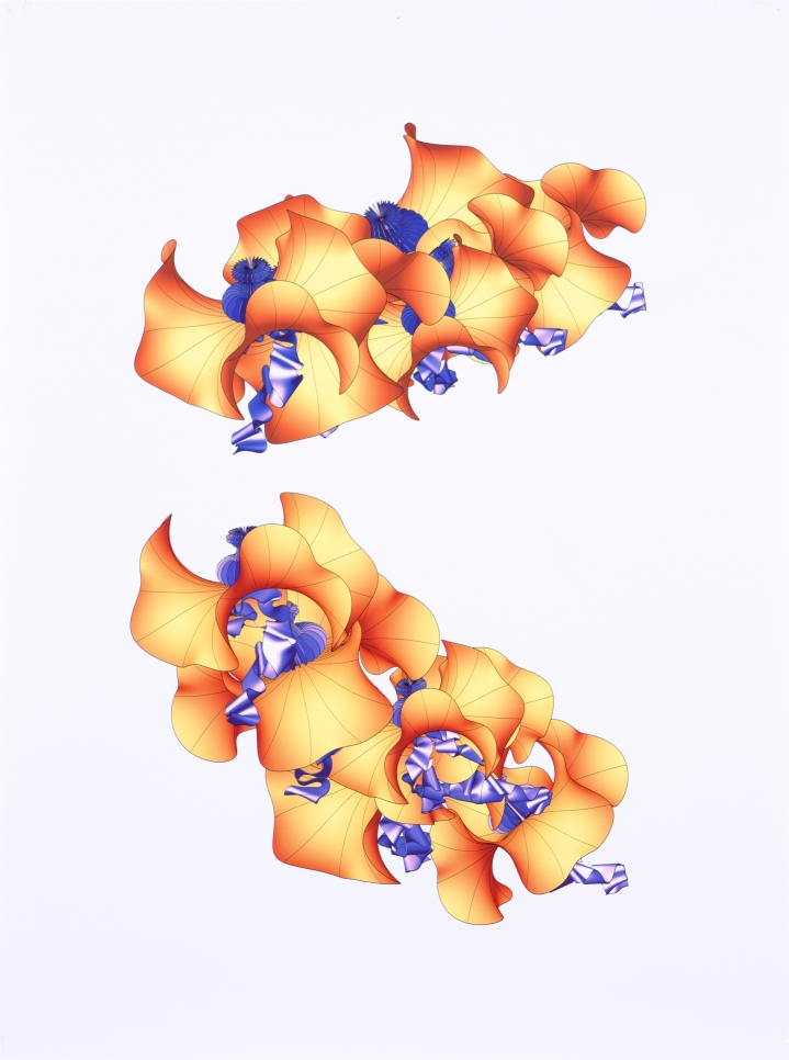 Digital inkjet print on paper showing orange and purple abstract 3D shapes on a white background by Alice Aycock