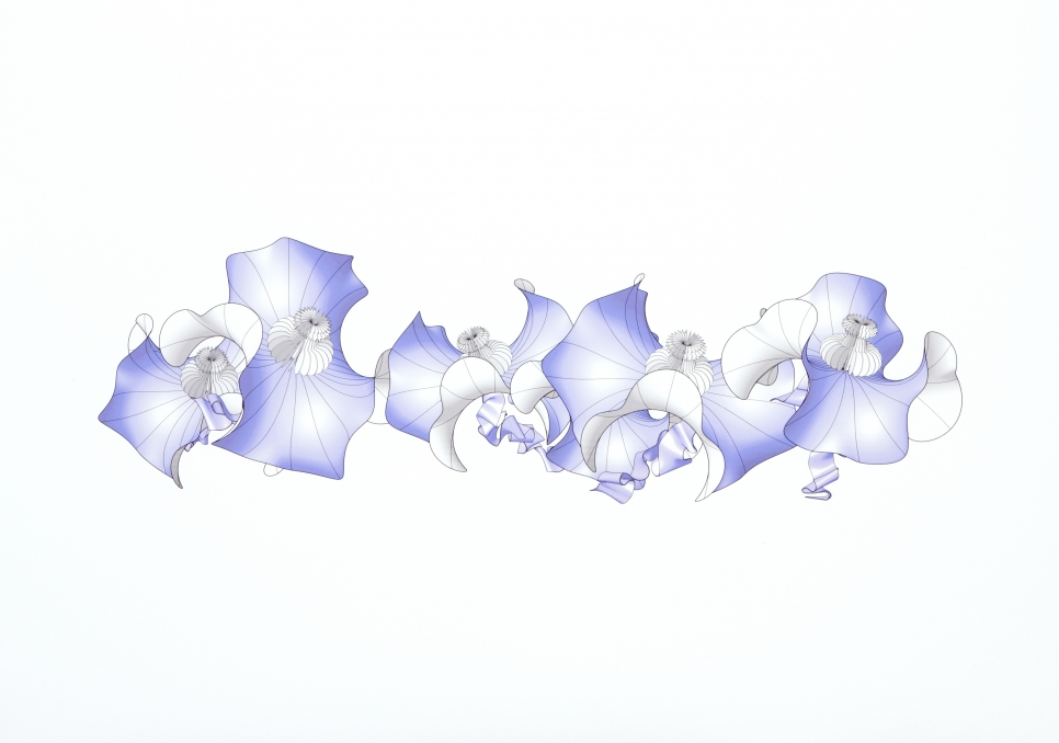 Digital inkjet print on paper showing white and blue abstract 3D shapes on a white background by Alice Aycock