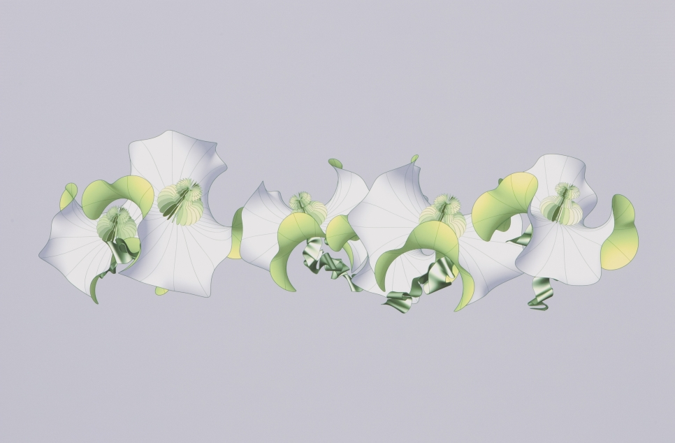 Digital inkjet print on paper showing abstract green and grey 3D shapes by Alice Aycock